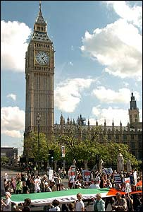 Protesters march past Big Ben
