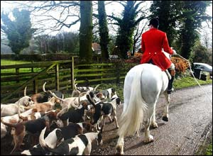 The Bilsdale Hunt, the oldest foxhunt in England, dating back to 1658, begins their meet near Thirsk.