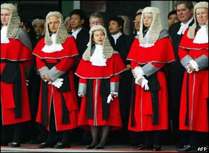 Hong Kong judges in robes and horsehair wigs attend the ceremonial opening of the legal year 2005