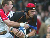 Tommy Bowe gets to grips with Luke Charteris