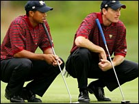 Tiger Woods (left) and Jim Furyk