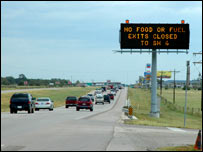 Warning sign on road leading to Houston