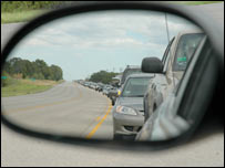 Queues of traffic along the road from Austin to Houston