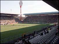 A shadow falls over Borussia Dortmund's Westfalen Stadium