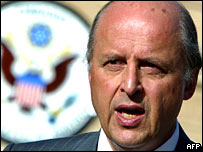 John Negroponte speaks at the US embassy in Baghdad