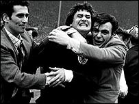 Jim Baxter celebrates Scotland's 3-2 win over England at Wembley in 1967