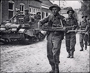 South Wales Borderers on D-Day advancing to Vaux-sur-Aure - as part of the Merthyr display at the exhibition