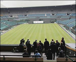 The inspectors view Centre Court from the royal box