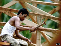 Construction worker builds a new shelter for refugees, 17 Feb