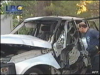 Remains of Ms Chidiac 's vehicle
