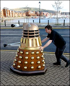 Tony Myers and his Dalek at Swansea Marina