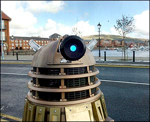 Partially remote controlled Dalek built by Dr Who fans and prop builders David price, 40, from Newcastle and Tony Myers, 45, from Sunderland.