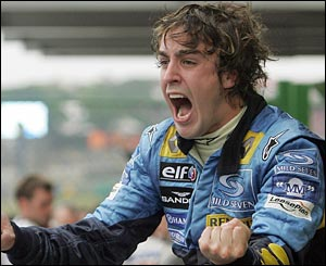 Alonso screams with delight after claiming the drivers' crown