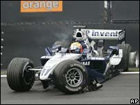 Antonio Pizzonia came to grief on the first lap in his Williams