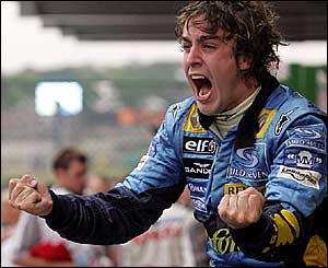 Fernando Alonso starts the celebrations