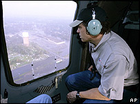 Texan Governor Rick Perry surveys flood damage at Port Arthur from helicopter
