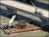 A barge on the Trinity River, which broke its moorings during Hurricane Rita