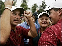 Chris DiMarco (left)  Jack Nicklaus (centre) and Phil Mickleson celebrate