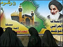 Iraqi women walk past an election poster for the United Iraqi Alliance