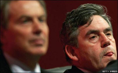 Gordon Brown and Tony Blair listen as the Labour conference begins