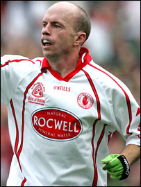 Peter Canavan celebrating his goal against Kerry