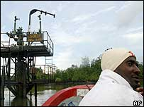 Man in boat near oil pump