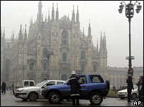 Milan cathedral obscured by fog