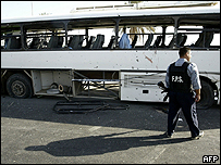 The bombed bus in Baghdad, Iraq