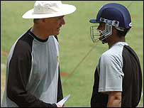 India's cricket coach, Greg Chappell and Sourav Ganguly