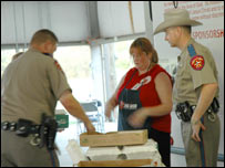 Salvation Army worker and Texas State Troopers