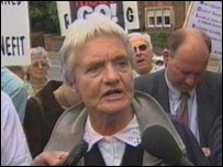 Sylvia Hardy arriving at court in Exeter