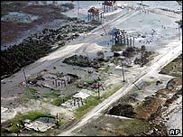 Aerial view of Holly Beach, Louisiana
