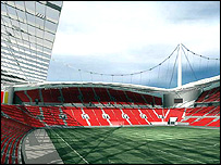 Artists impression of inside of proposed new Liverpool FC stadium