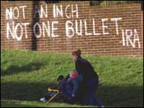"Message on wall: ""Not an inch, not one bullet - IRA"""