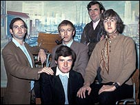 The Monty Python team (l-r) John Cleese, Graham Chapman, Michael Palin (seated), Terry Jones and Eric Idle