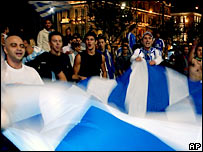 Fans celebrate in Greece