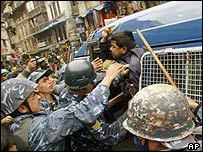Protester arrested in Kathmandu on Democracy Day