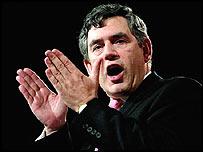 Gordon Brown, delivering his speech in Brighton