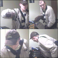 Burglar caught on webcam
