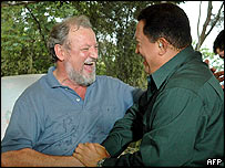 President Chavez (right) with a representative of Brazil's Landless Movement