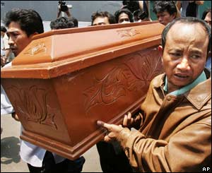 Relatives carry the coffin of suspected bird flu victim Riska Ardianti, 21 Sept