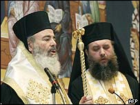 Archbishop Christodoulos (left) and a bishop