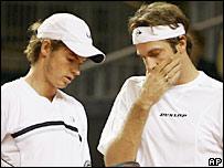 Andy Murray (left) and Greg Rusedski