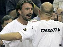 Goran Ivanisevic (left) congratulates Ivan Ljubicic after Croatia's semi-final win