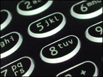 Close-up of mobilephone keypad, BBC