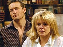 Coronation Street's Shelley, played by Sally Lindsay, and Charlie, played by Bill Ward.  Image credit ITV/PA