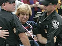 Cindy Sheehan is arrested by police in Washington DC