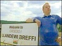 'Daffyd' leans on the Llanddewi-Brefi sign