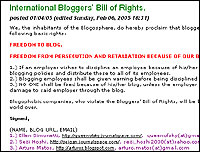Screengrab of the International Bloggers' Bill of Rights