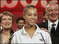 Tessa Jowell, young basketball player Amber Charles and London Mayor Ken Livingtone